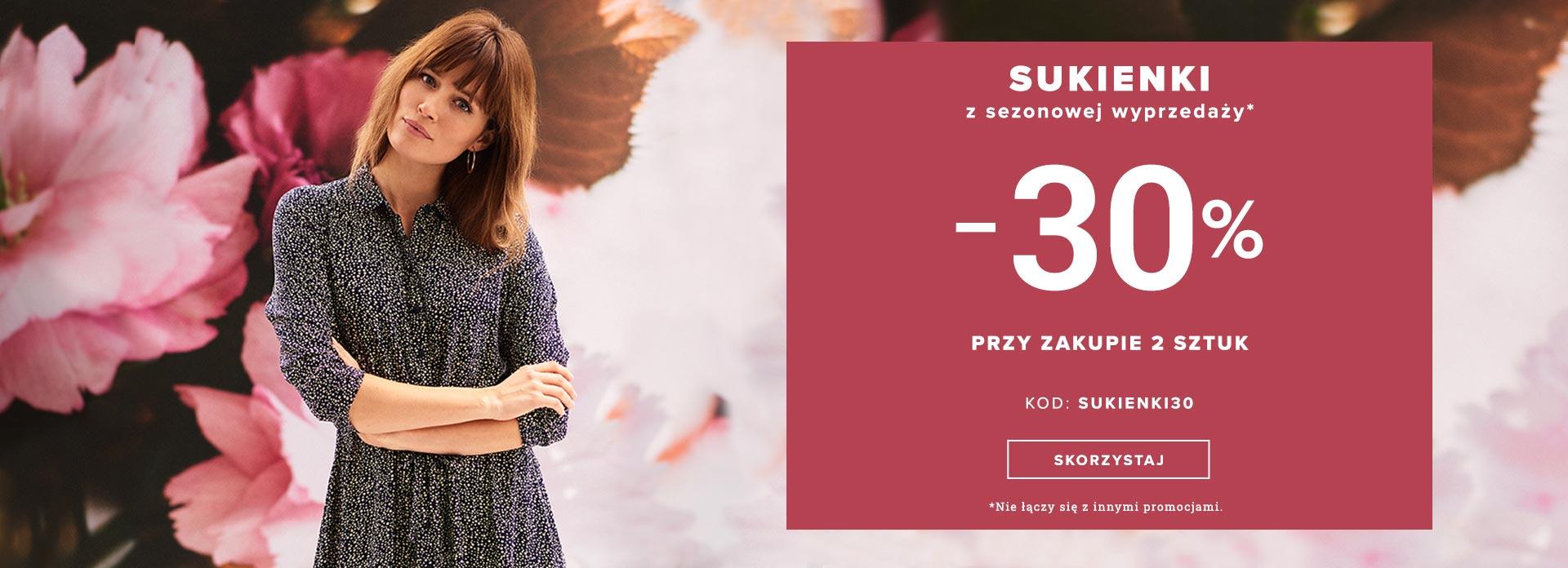 Greenpoint: 30% rabatu na sukienki z sezonowej wyprzedaży przy zakupie 2 sztuk