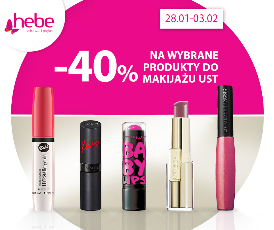 Hebe: 40% zniżki na wybrane produkty do makijażu ust