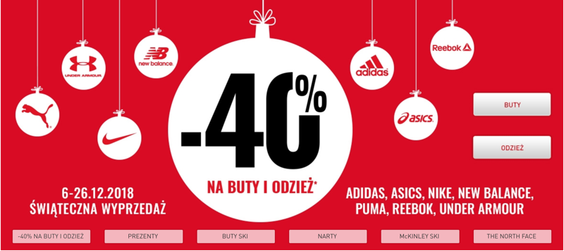 Intersport: wyprzedaż 40% zniżki na buty i odzież sportową