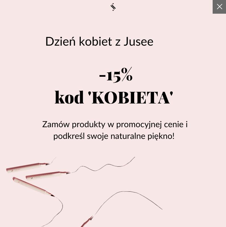 Jusee by Julia Wieniawa Jusee by Julia Wieniawa: 15% rabatu na kosmetyki do makijażu - promocja na Dzień Kobiet