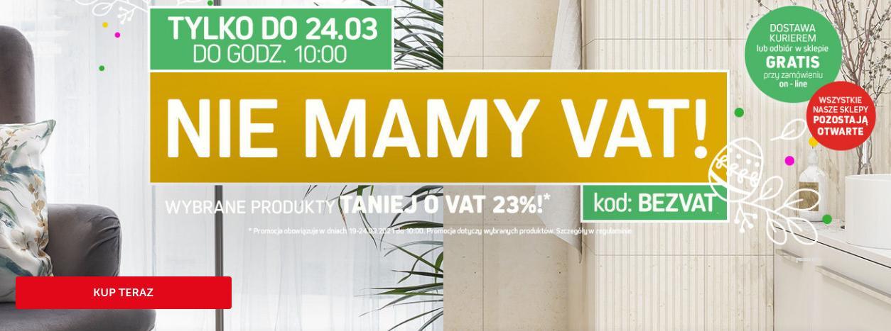Komfort: 23% rabatu na wybrane produkty wyposażenia wnętrz - Taniej Bez VAT!