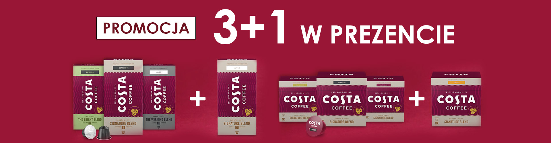 Konesso: 3+1 w prezencie - kawy w kapsułkach nespresso oraz dolce gusto