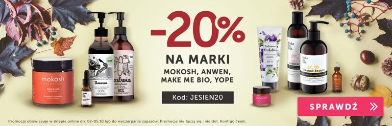 Kontigo Kontigo: 20% zniżki na kosmetyki marek Mokosh, Anwen, Make Me Bio, Yope