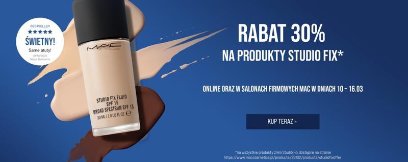Mac Cosmetics Mac Cosmetics: 30% rabatu na kosmetyki z linii Studio Fix