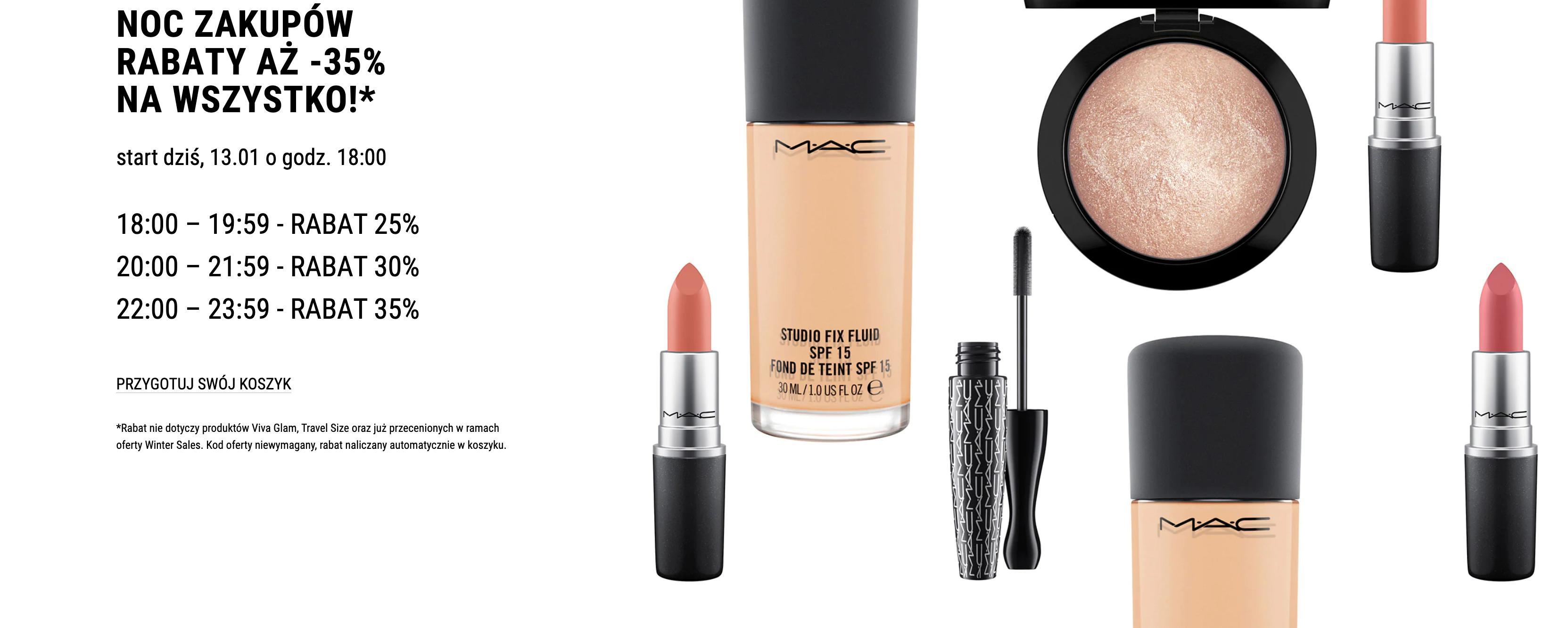 Mac Cosmetics Mac Cosmetics: Noc Zakupów do 35% rabatu na kosmetyki do makijażu