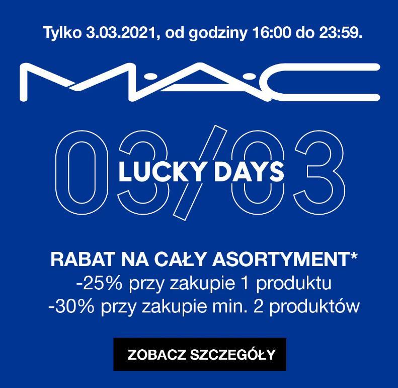 Mac Cosmetics Mac Cosmetics: 25% zniżki na cały asortyment kosmetyków przy zakupie 1 produktu, 30% przy zakupie min. 2 produktów