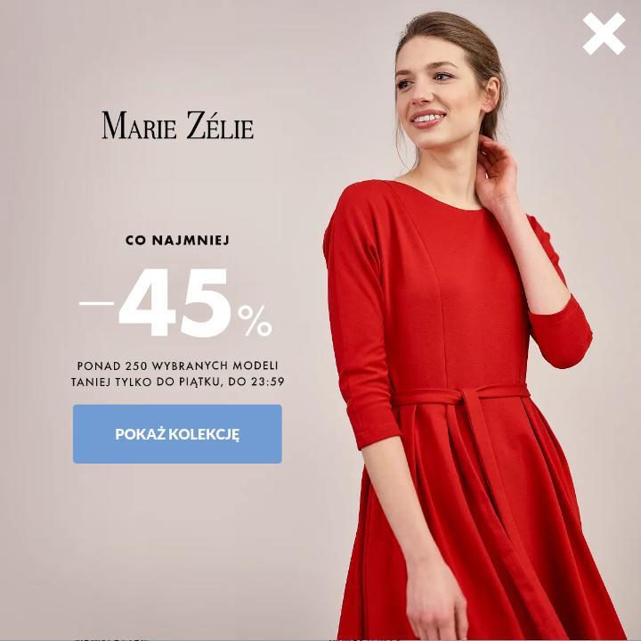 Marie Zelie: wyprzedaż conajmniej 45% zniżki na wybrane modele