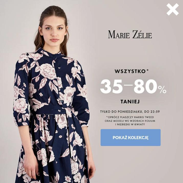 Marie Zelie: 35% do 80% rabatu na cały asortyment odzieży damskiej - tylko do północy