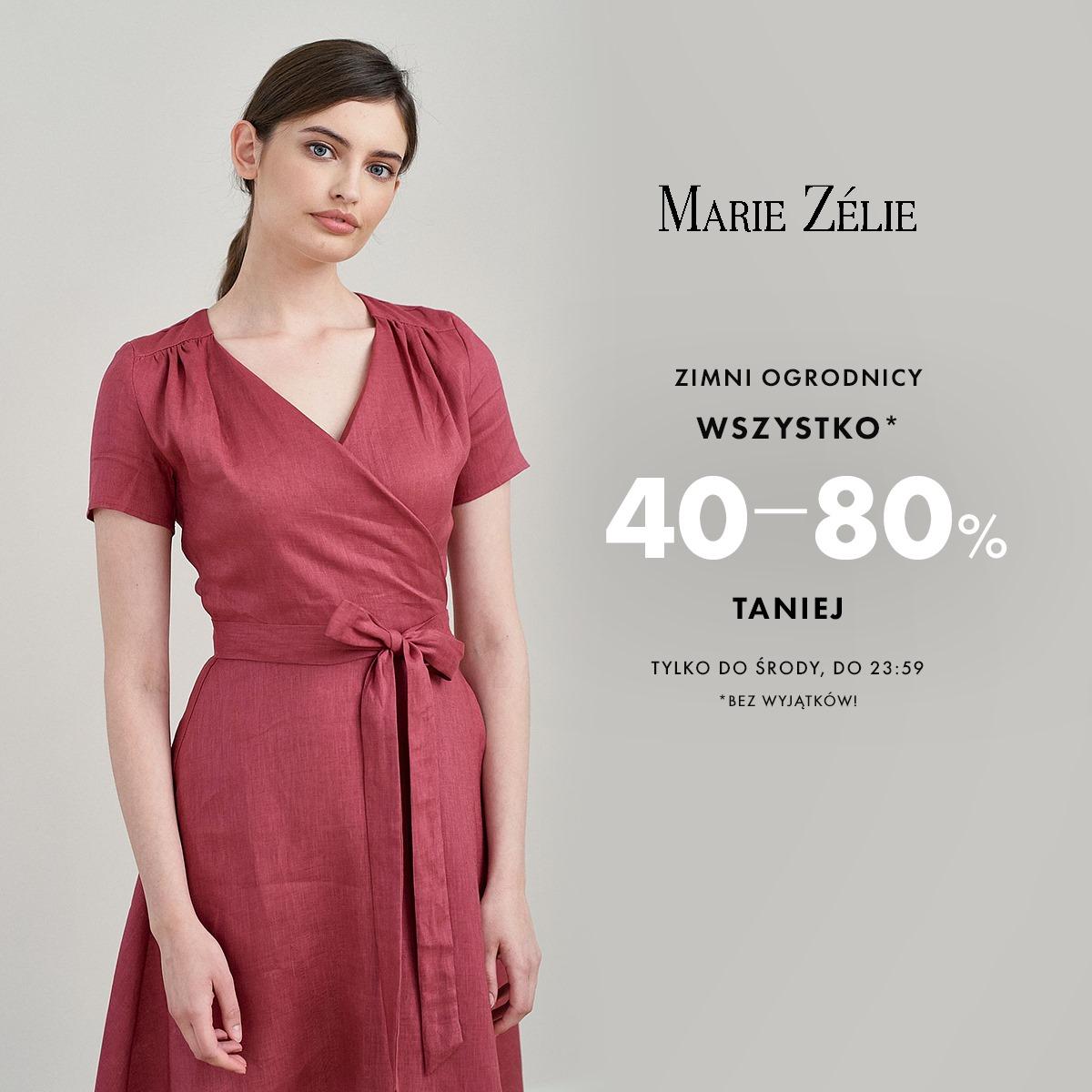 Marie Zelie: od 40% do 80% zniżki na cały asortyment - odzież damska m.in. sukienki, spódnice, bluzki, płaszcze