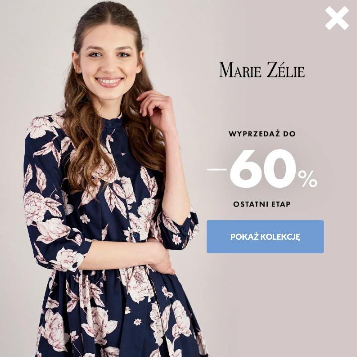 Marie Zelie: wyprzedaż do 60% rabatu na odzież damską - sukienki, spódnice, bluzki, płaszcze i akcesoria