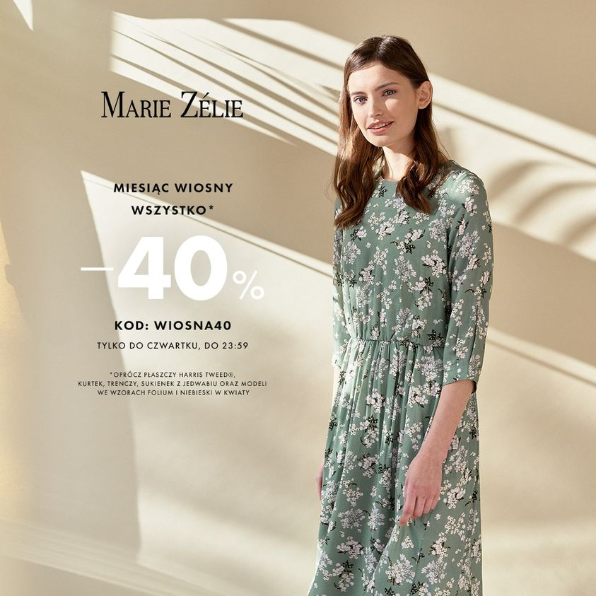 Marie Zelie Marie Zelie: 40% rabatu na cały asortyment odzieży damskiej