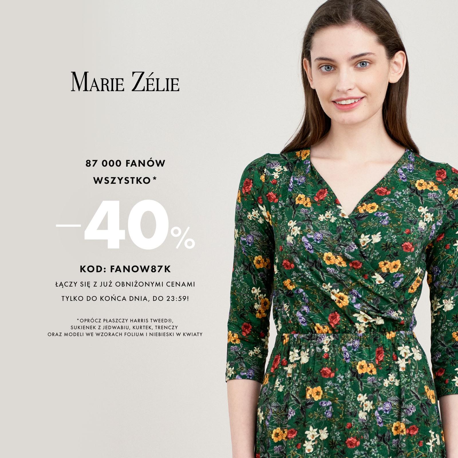 Marie Zelie Marie Zelie: 40% zniżki na odzież damską
