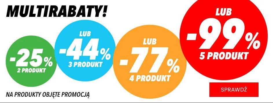 MediaExpert: 99% rabatu na piąty produkt lub 77% na 4 produkt lub 44% na 3 produkt lub 25% na 2 produkt