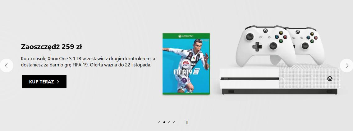 Microsoft: zaoszczędź 259 zł, kup konsolę Xbox One S 1 TB w zestawie z drugim kontrolerem, a dostaniesz grę FIFA 19