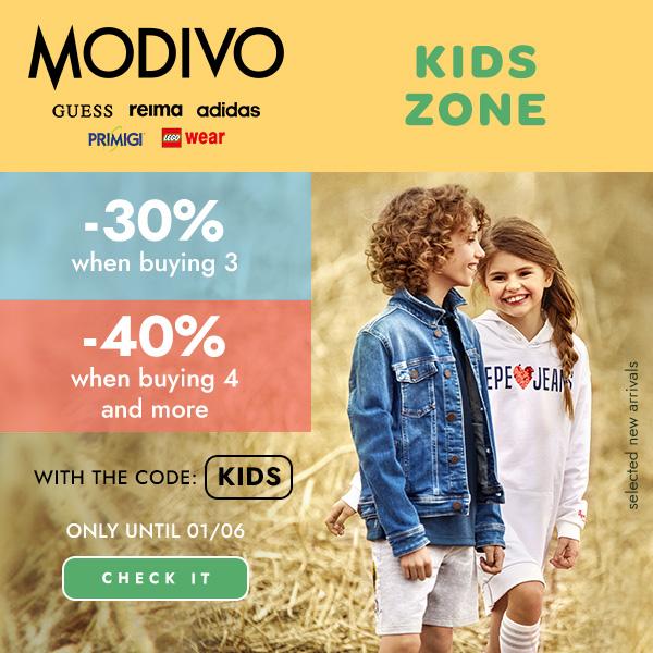 Modivo: do 40% zniżki na odzież, obuwie oraz akcesoria dla dzieci z okazji Dnia Dziecka