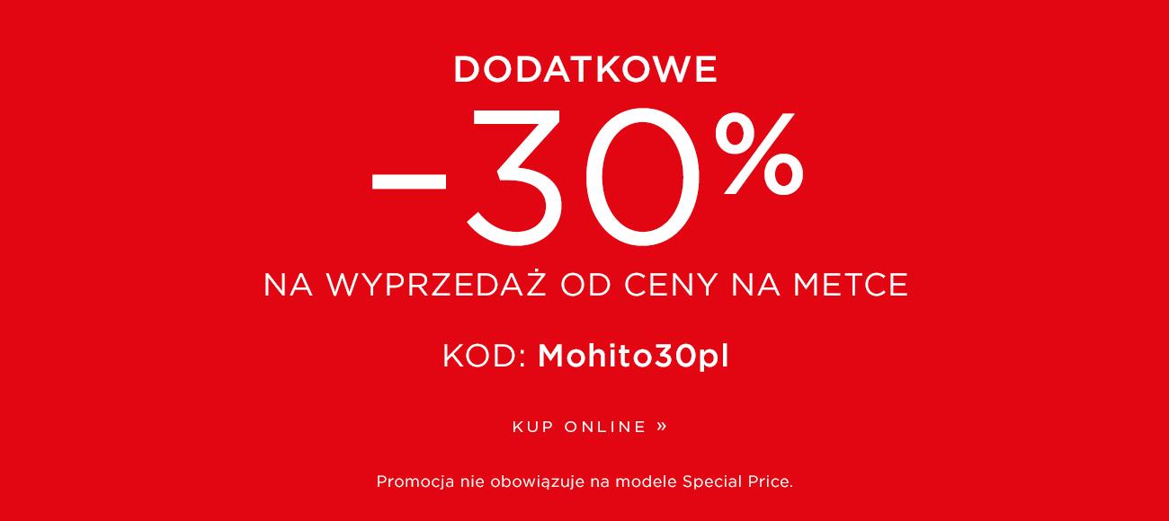 Mohito Mohito: dodatkowe 30% rabatu na wyprzedaż od ceny na metce