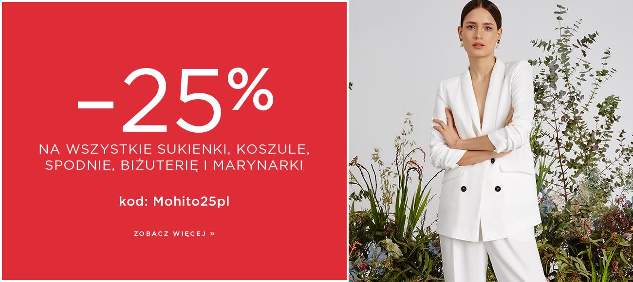 Mohito: 25% zniżki na wszystkie sukienki, koszule, spodnie, biżuterię i marynarki                         title=