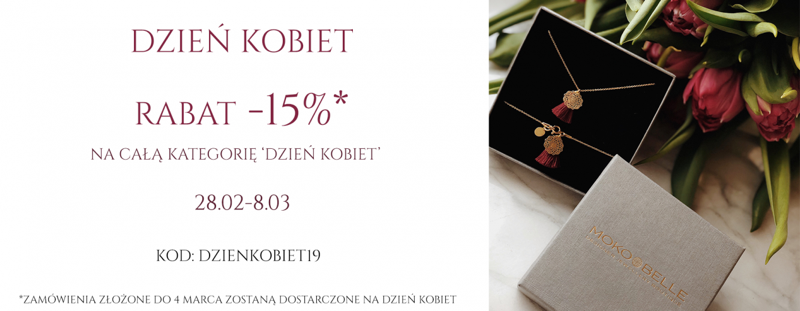 Mokobelle: 15% zniżki na całą biżuterię z kategorii Dzień Kobiet