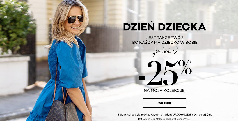Monnari: 25% zniżki na kolekcję odzieży Małgosi Sochy przy zakupach powyżej 250 zł - promocja na Dzień Dz