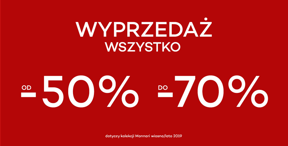Monnari: wyprzedaż od 50% do 70% zniżki na odzież damską z kolekcji wiosna/lato 2019                         title=