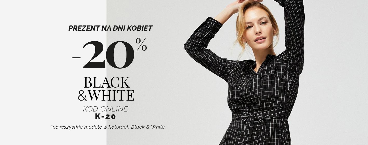 Moodo: z okazji Dnia Kobiet 20% rabatu na wszystkie modele odzieży damskiej w kolorach Black&White                         title=