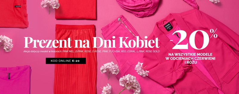 Moodo: z okazji Dnia Kobiet 20% rabatu na wszystkie modele odzieży w odcieniach czerwieni i różu