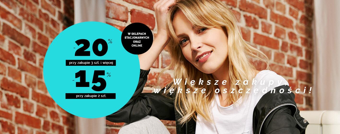 Moodo: 20% zniżki przy zakupie 3 sztuk odzieży i więcej lub 15% zniżki przy zakipie 2 szt