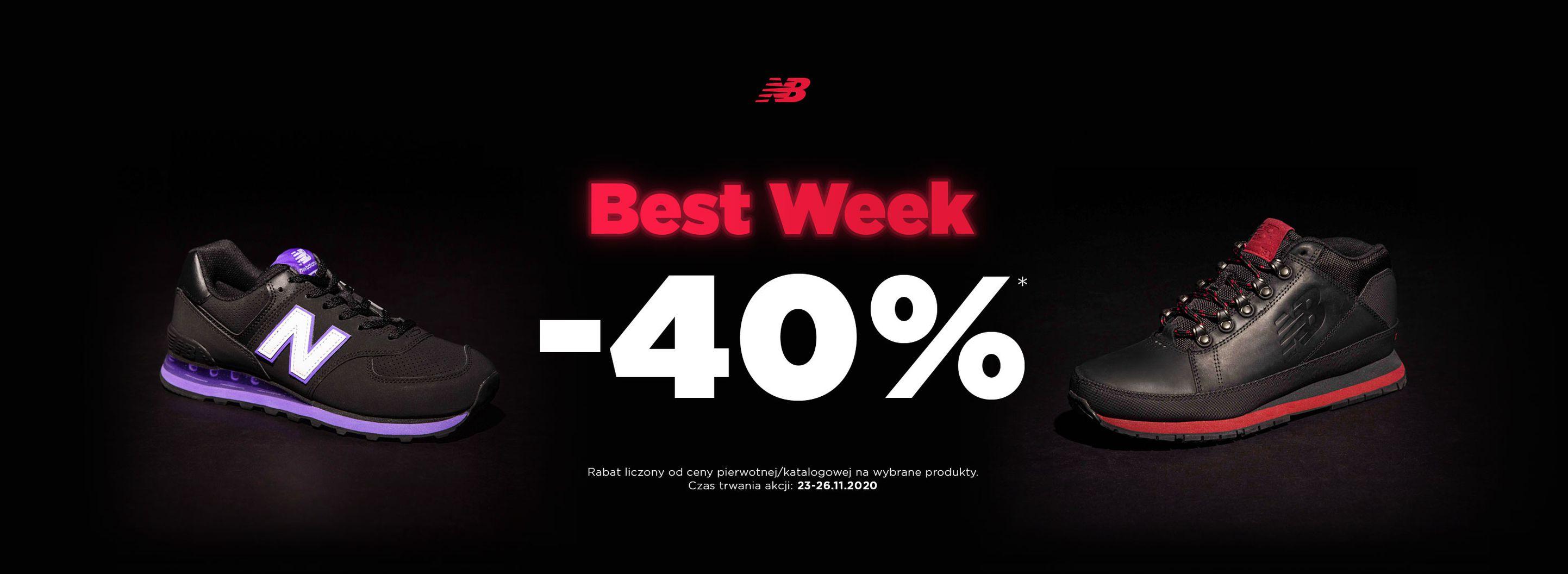 New Balance: Best Week 40% zniżki na buty, odzież oraz akcesoria sportowe  New Balance