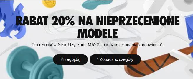 Nike Nike: 20% rabatu na nieprzecenione modele obuwia oraz odzieży sportowej