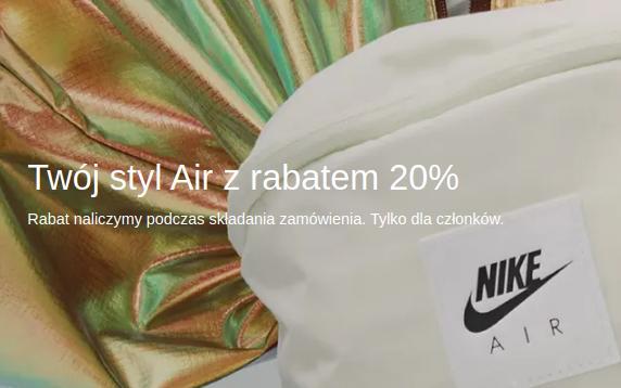 Nike: 20% rabatu na odzież, obuwie oraz akcesoria sportowe - Twój styl Air