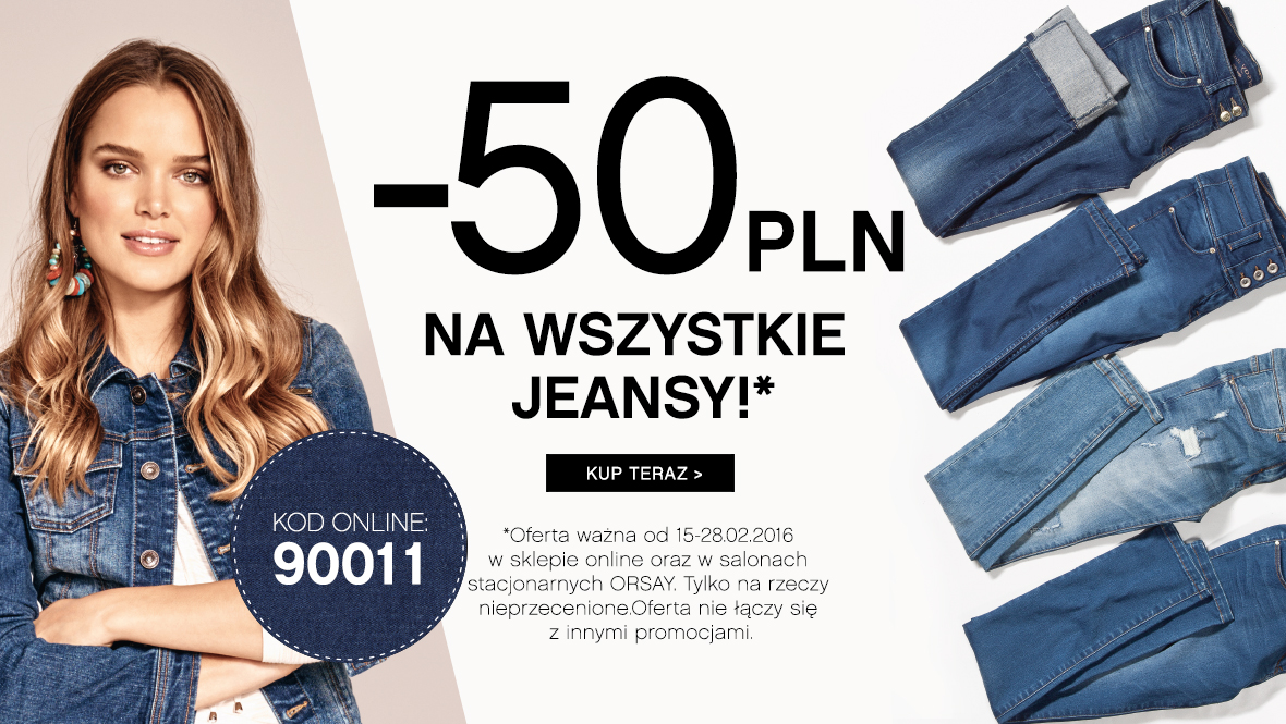 Orsay: 50 zł zniżki na wszystkie jeansy                         title=