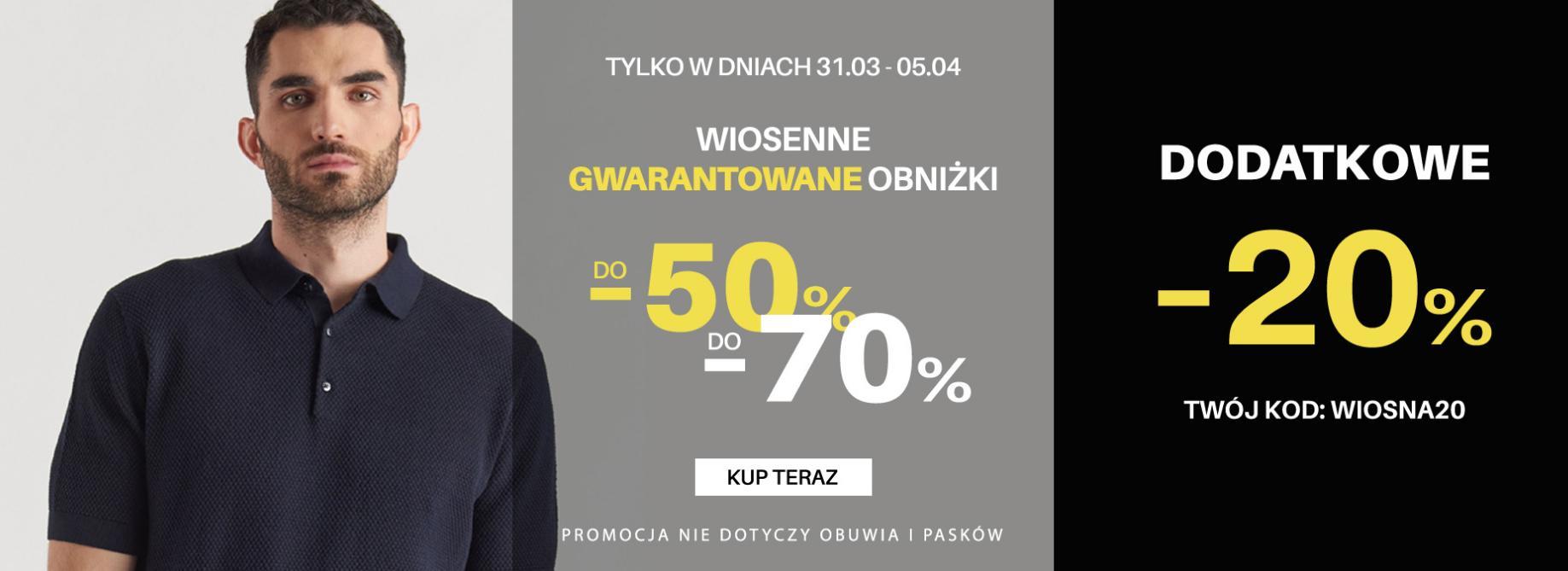Pako Lorente: dodatkowe 20% zniżki na odzież męską oraz wiosenne obniżki do 50% i do 70%