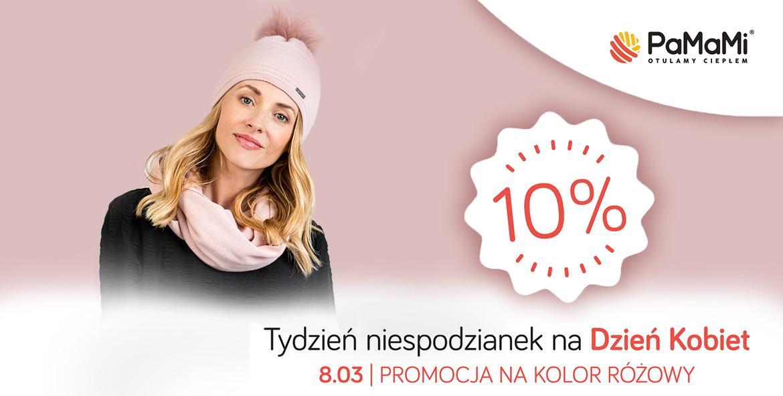 Pamami: 10% zniżki na czapki, szaliki, rękawiczki w kolorze różowym - promocja na Dzień Kobiet