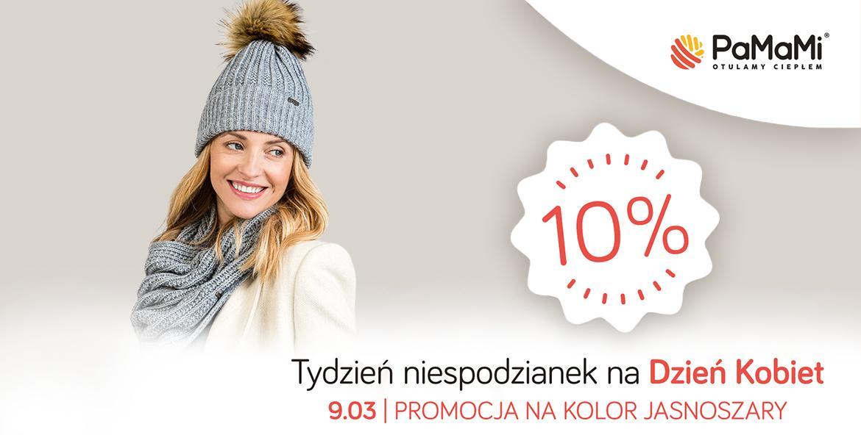 Pamami Pamami: do 50% zniżki na czapki, szaliki, rękawiczki w kolorze jasnoszarym - promocja na Dzień Kobiet
