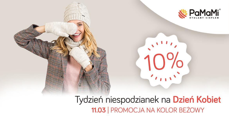 Pamami: do 50% rabatu na czapki, szaliki, rękawiczki w kolorze beżowym - promocja na Dzień Kobiet