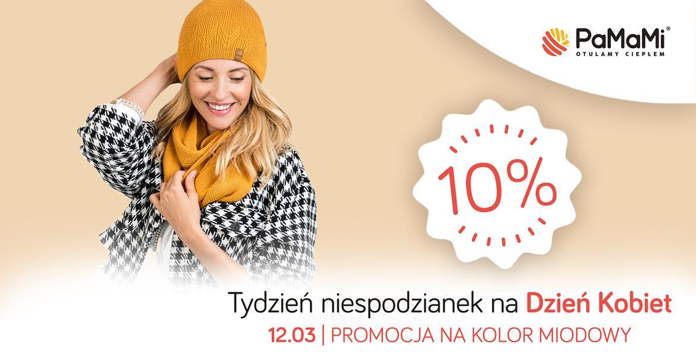 Pamami: do 25% rabatu na czapki, szaliki, rękawiczki w kolorze miodowym - promocja na Dzień Kobiet