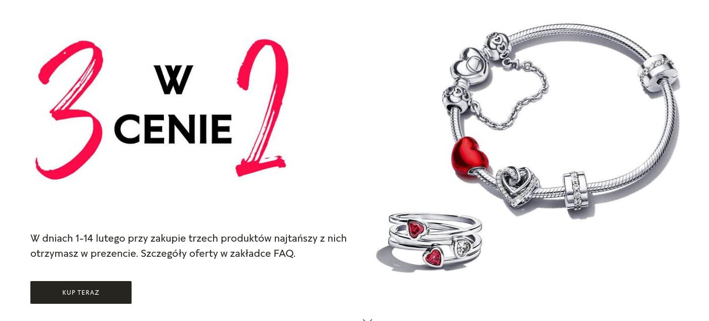 Pandora Pandora: 3 produkty w cenie 2 - prezenty na  Walentynki