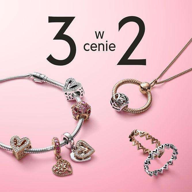 Pandora: przy zakupie 2 sztuk biżuterii, 3 sztuka gratis                         title=