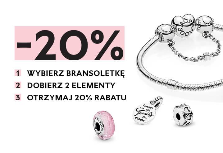 Pandora: 20% zniżki na bransoletki z minimum dwoma elementami