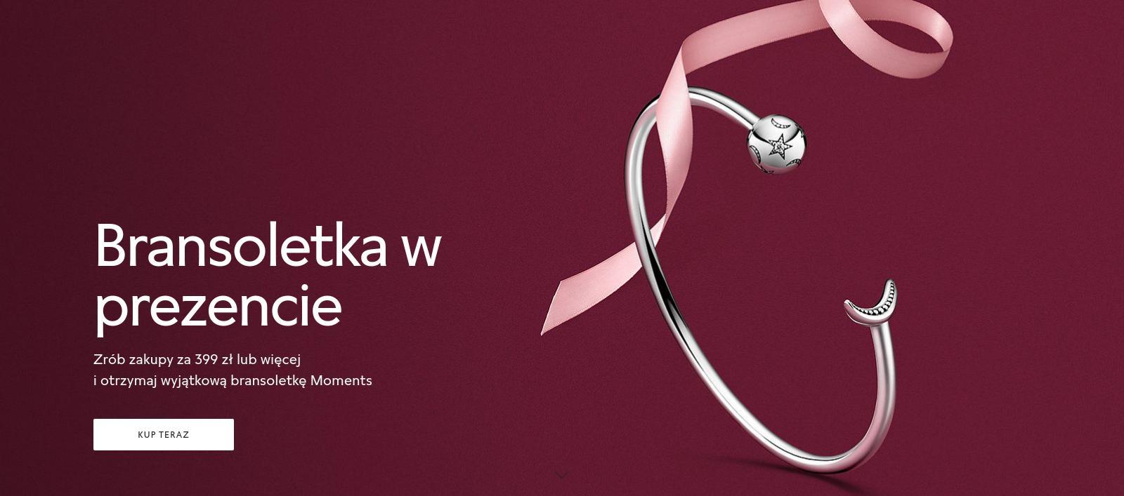 Pandora: przy zakupach za min. 399 zł, bransoletka w prezencie