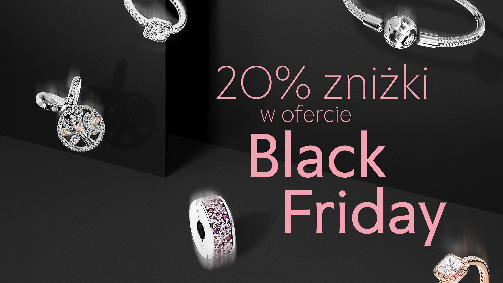 Pandora: Black Friday 20% rabatu na biżuterię - bransoletki, pierścionki, naszyjniki, kolczyki                         title=