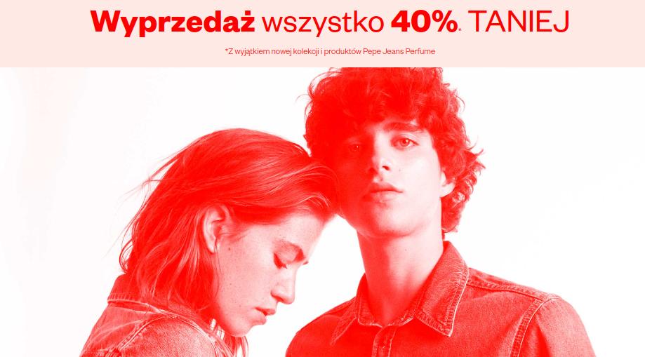 Pepe Jeans: wyprzedaż 40% zniżki na cały asortyment odzieży jeansowej