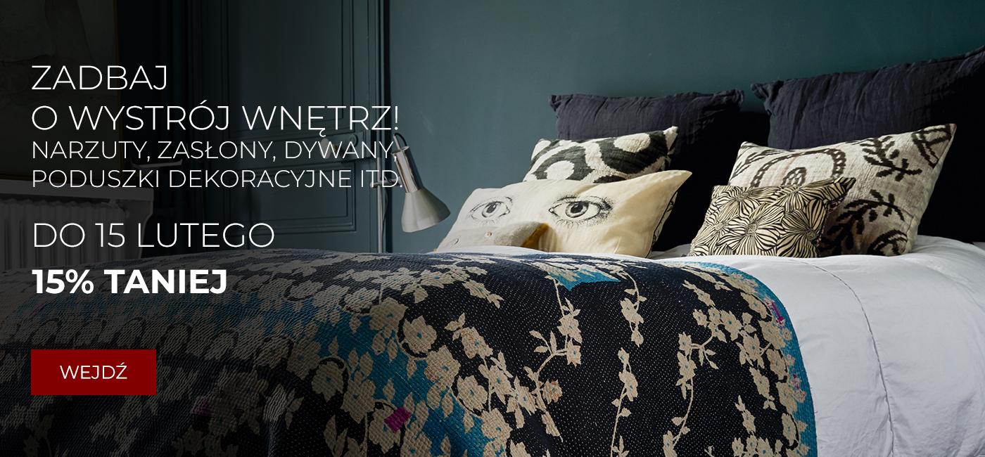Pod Pierzyną: 15% rabatu na narzuty, zasłony, dywany, poduszki dekoracyjne itp.