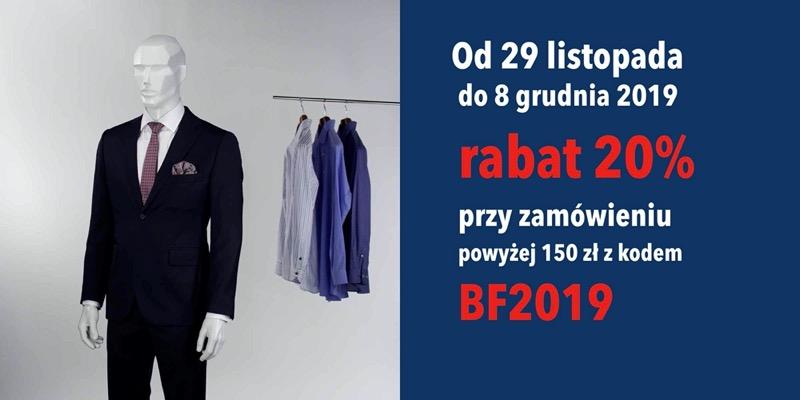 Próchnik: Black Friday 20% zniżki na odzież męską przy zamówieniu powyżej 150 zł                         title=