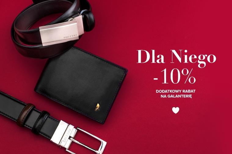 Puccini: dodatkowe 10% rabatu na galanterię skórzaną - portfele, paski - prezent na Walentynki dla niego