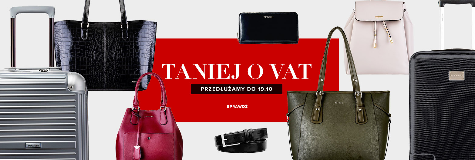 Puccini: walizki, torby, torebki, akcesoria taniej o VAT