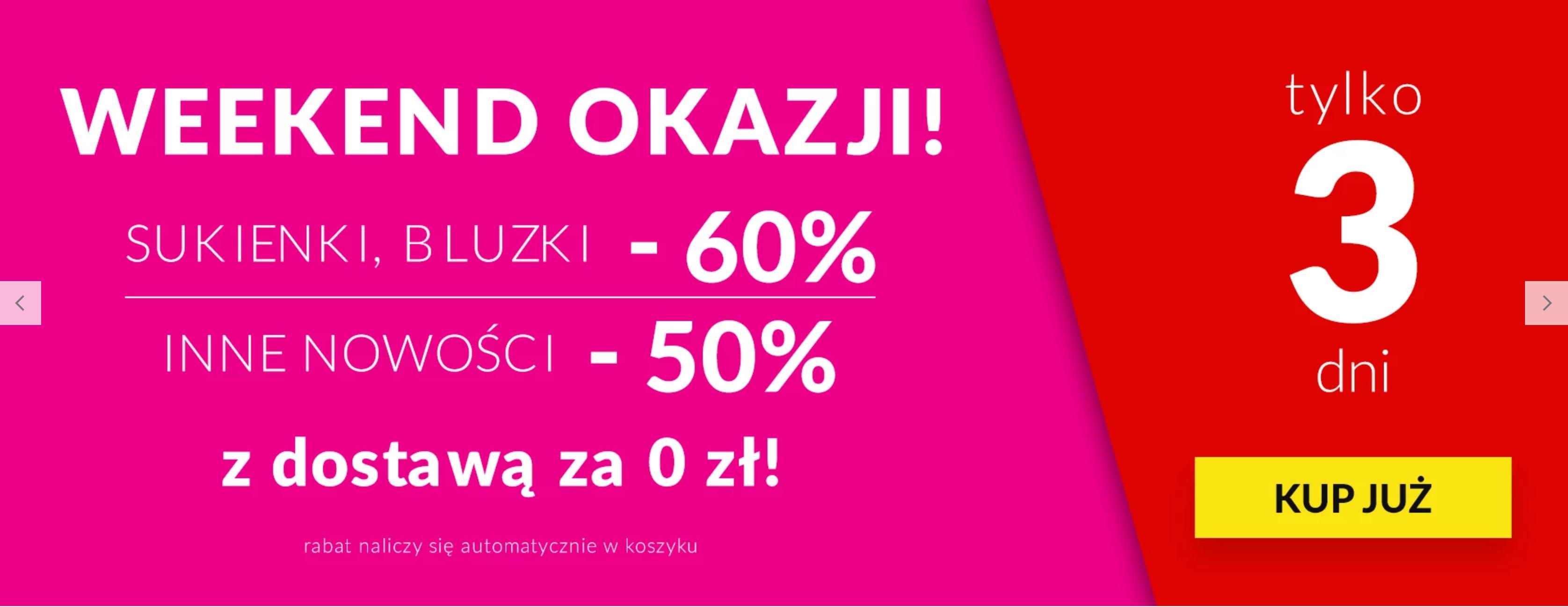 Quiosque Quiosque: Weekend Okazji 60% zniżki na sukienki i bluzki oraz 50% zniżki na inne nowości