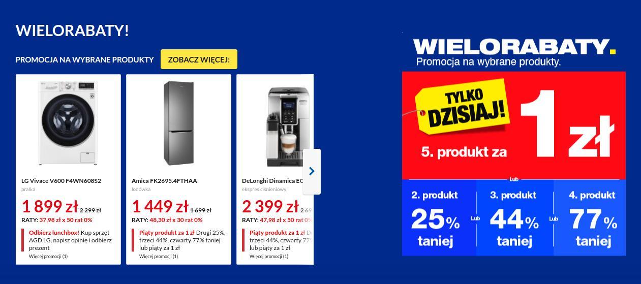 RTV EURO AGD: piąty produkt za 1 zł