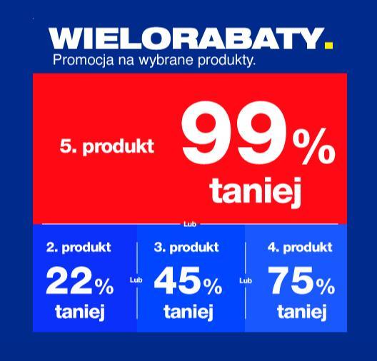 RTV EURO AGD: 99% zniżki na piąty produkt lub 75% na 4 produkt lub 45% na 3 produkt lub 22% na 2 produkt
