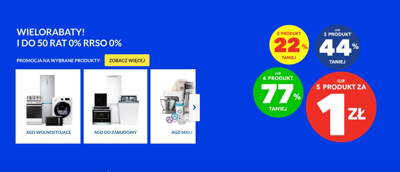 RTV EURO AGD: 1 zł za 5 produkt, 77% zniżki na 4 produkt, 44% zniżki na 3 produkt, 22% zniżki na 2 produkt
